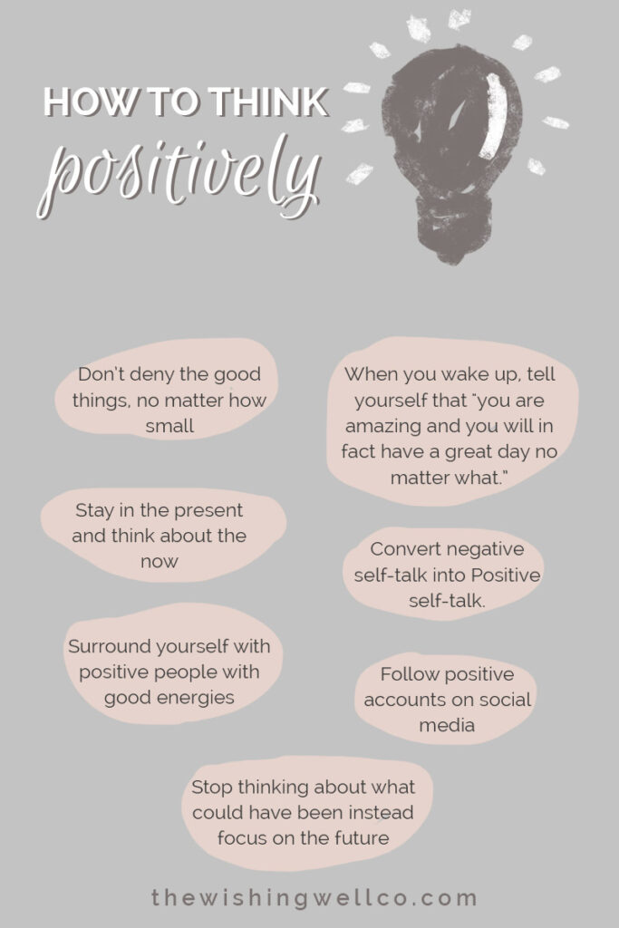 How to think positively illustration infographic